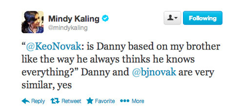 AND Mindy admitted that Danny from The Mindy Project was just like B.J.