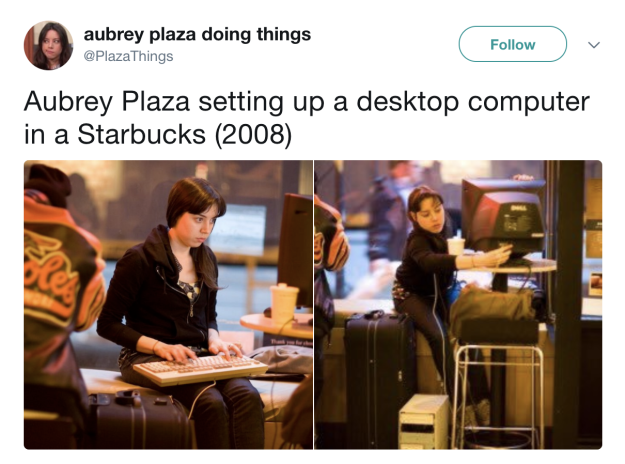 When she literally set up a desktop in a Starbucks as part of a prank: