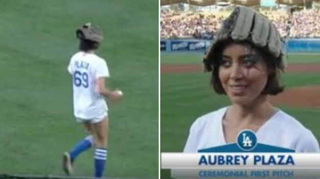 When she threw out the first pitch at a baseball game and repped the number 69:
