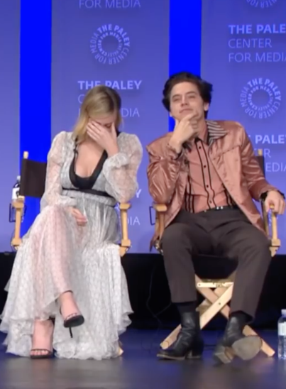"""Things got real awkward, real fast. Lili immediately covered her face, while Cole just stared at the fan with a """"Did she really just ask that?"""" face."""