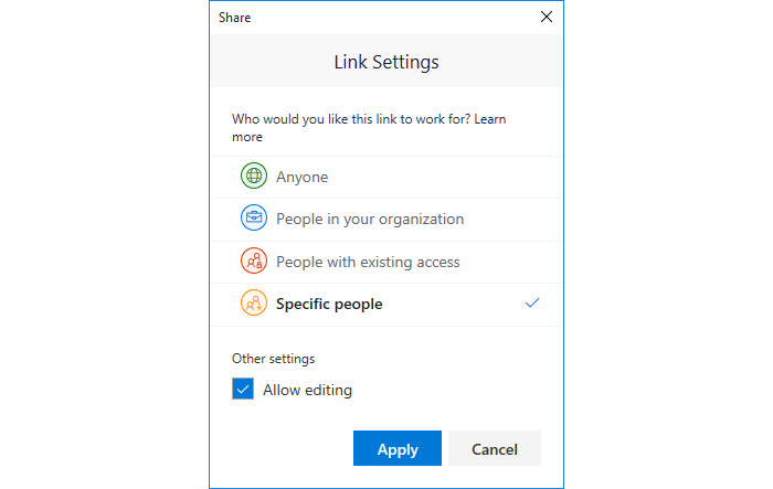 PowerPoint 365 collaboration - Link Settings window