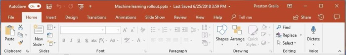 powerpoint 2016 ribbon home tab