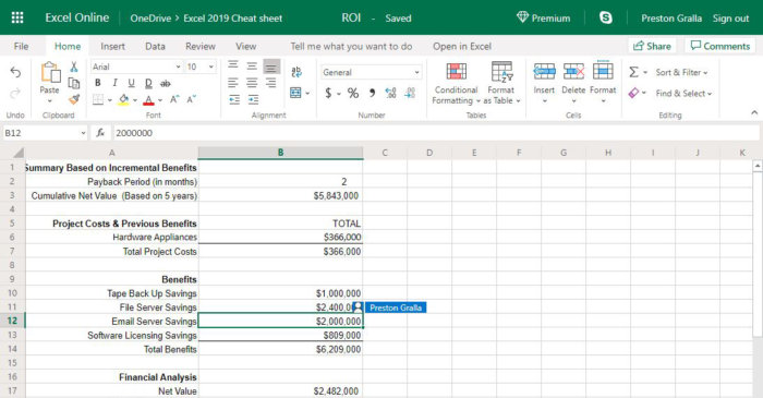 excel online collaboration